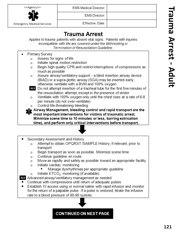 Trauma Arrest - Adult Trauma Arrest Continued on next Page