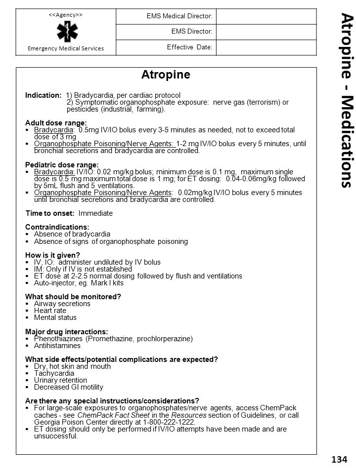 Atropine - Medications
