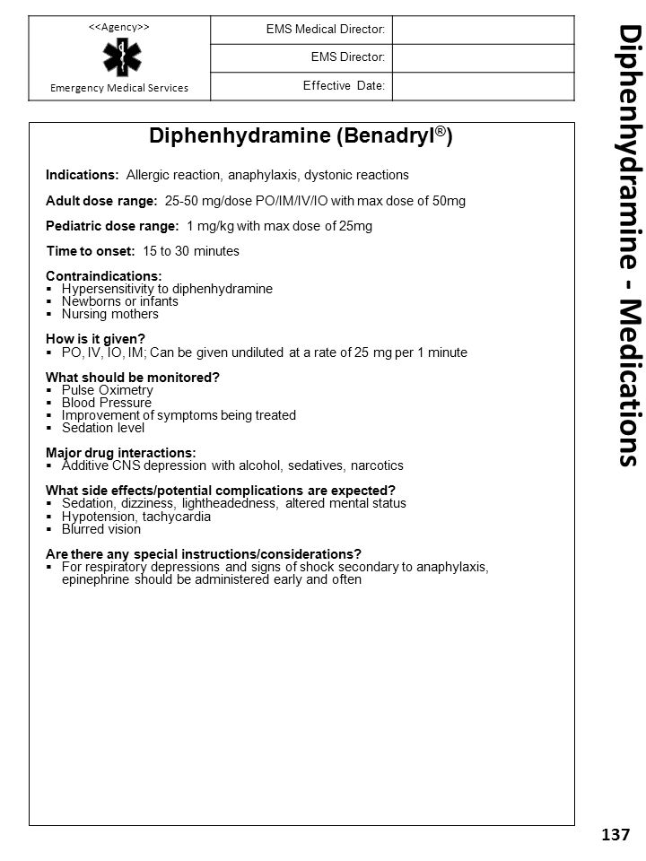 Diphenhydramine - Medications