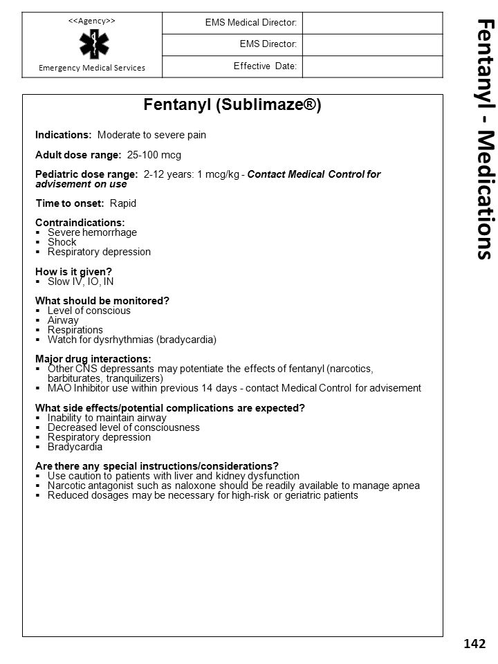 Fentanyl - Medications