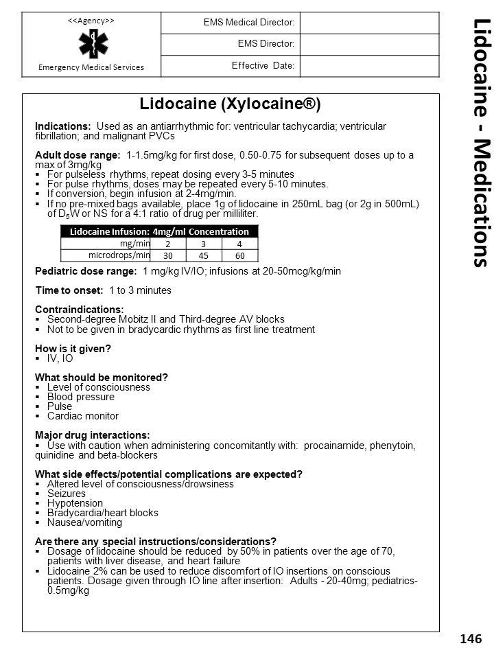 Lidocaine - Medications
