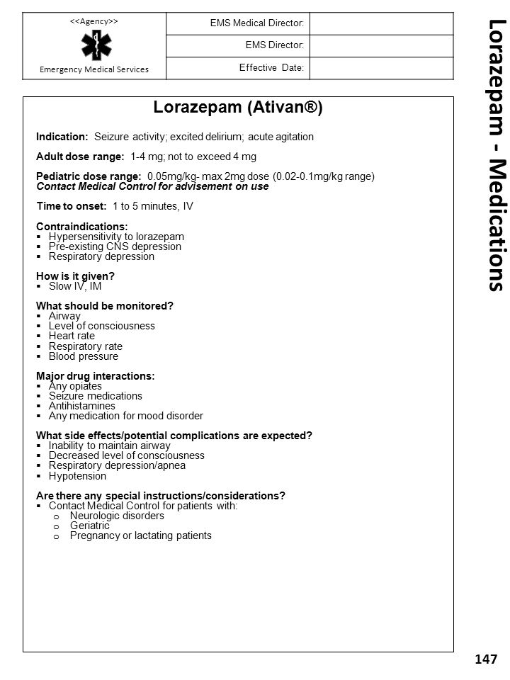Lorazepam - Medications