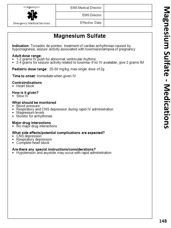 Magnesium Sulfate - Medications