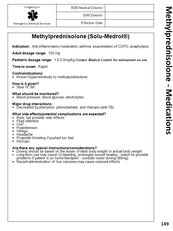 Methylprednisolone - Medications