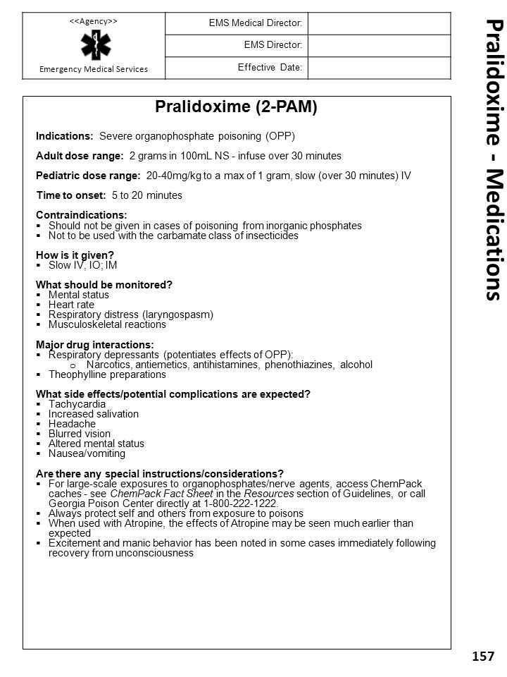 Pralidoxime - Medications
