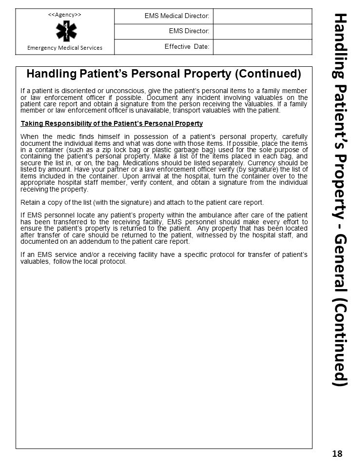 Handling Patient's Property - General (Continued)