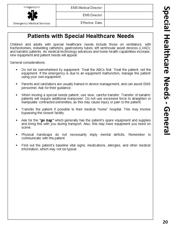 Special Healthcare Needs - General