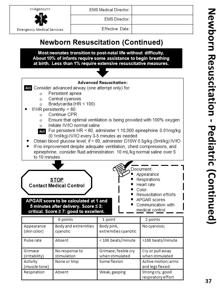 Newborn Resuscitation - Pediatric (Continued)