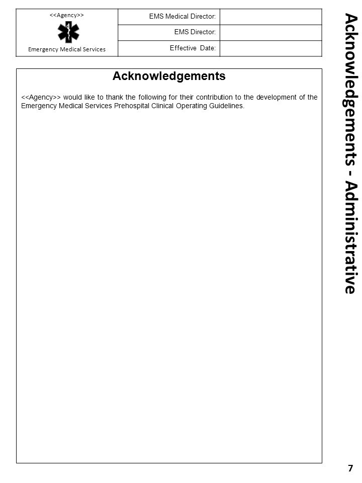Acknowledgements - Administrative