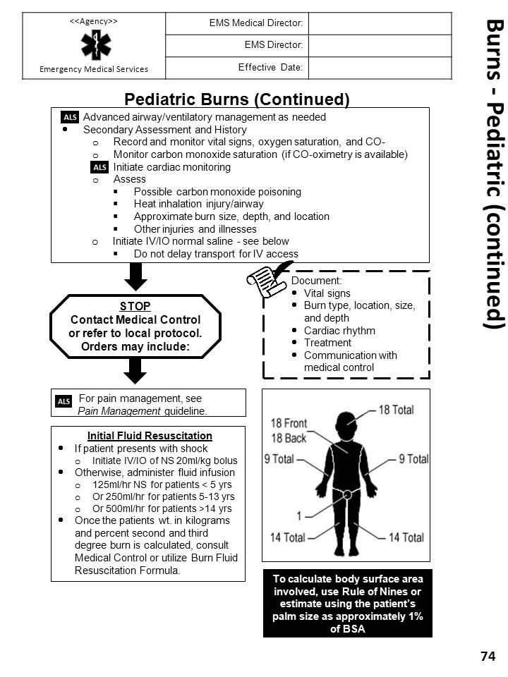 Burns - Pediatric (continued)