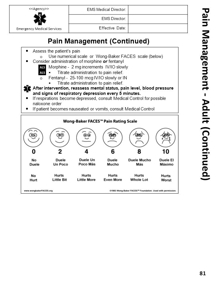 Pain Management - Adult (Continued)