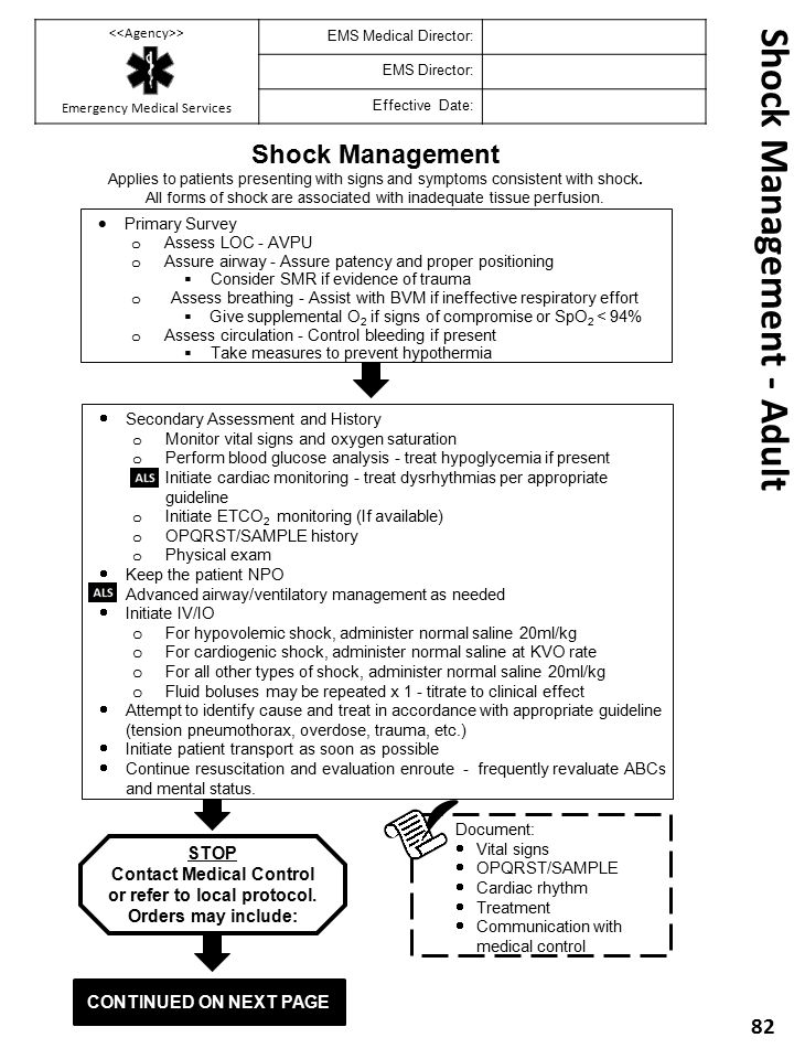 Shock Management - Adult