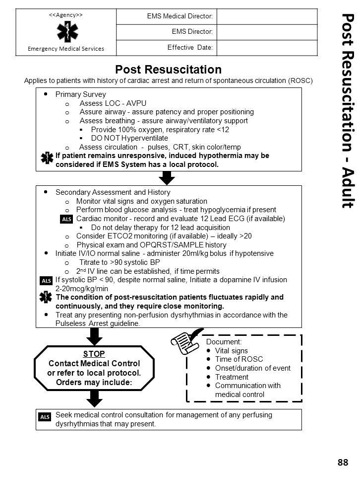 Post Resuscitation - Adult