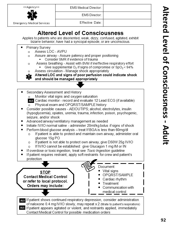Altered Level of Consciousness - Adult