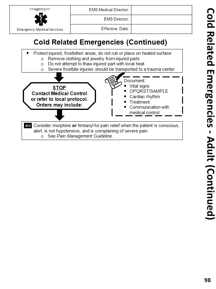 Cold Related Emergencies - Adult (Continued)