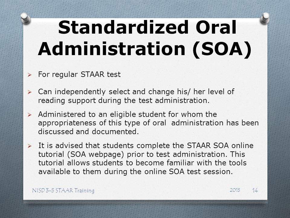 Standardized Oral Administration (SOA)