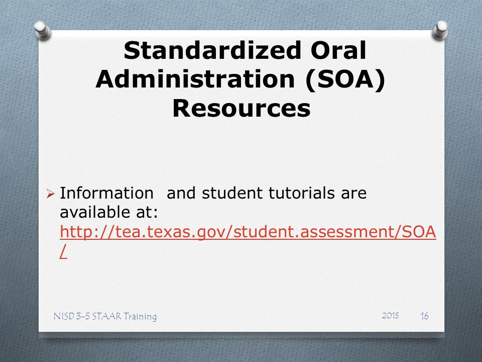 Standardized Oral Administration (SOA) Resources