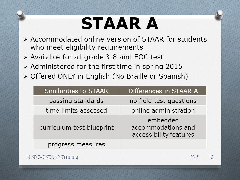 STAAR A Accommodated online version of STAAR for students who meet eligibility requirements. Available for all grade 3-8 and EOC test.
