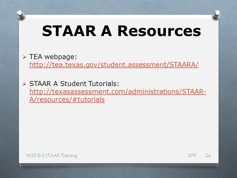 STAAR A Resources TEA webpage: http://tea.texas.gov/student.assessment/STAARA/