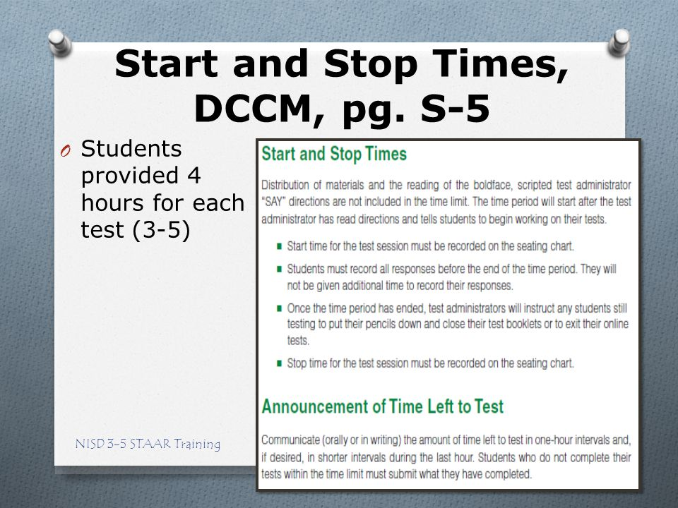 Start and Stop Times, DCCM, pg. S-5