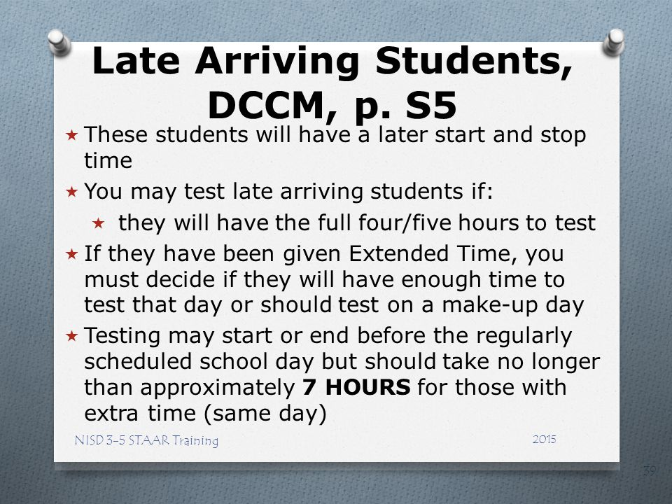 Late Arriving Students, DCCM, p. S5