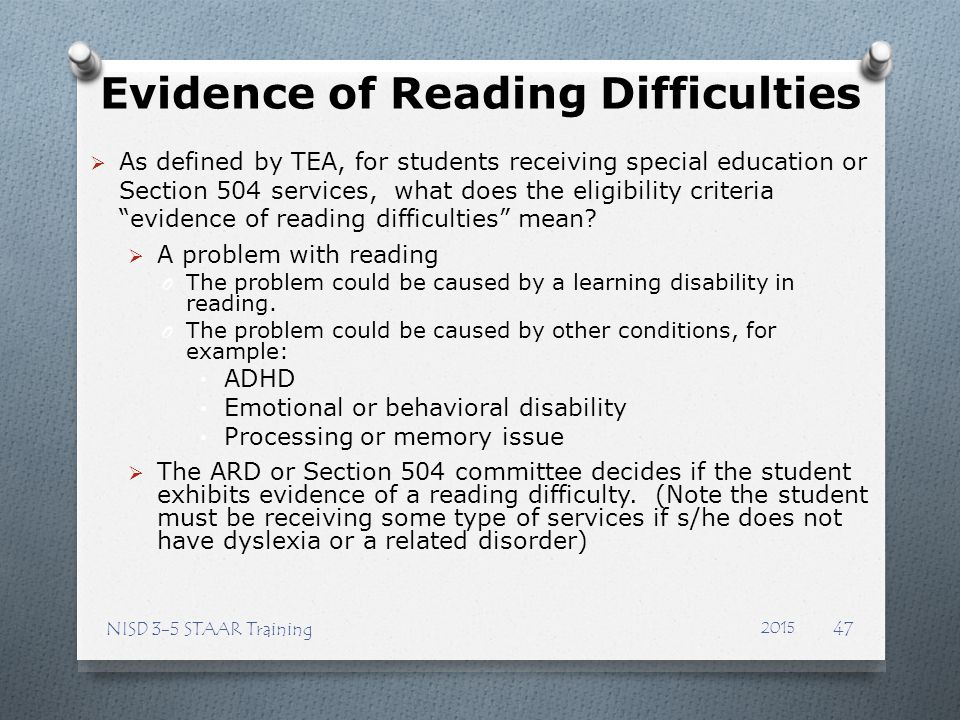 Evidence of Reading Difficulties