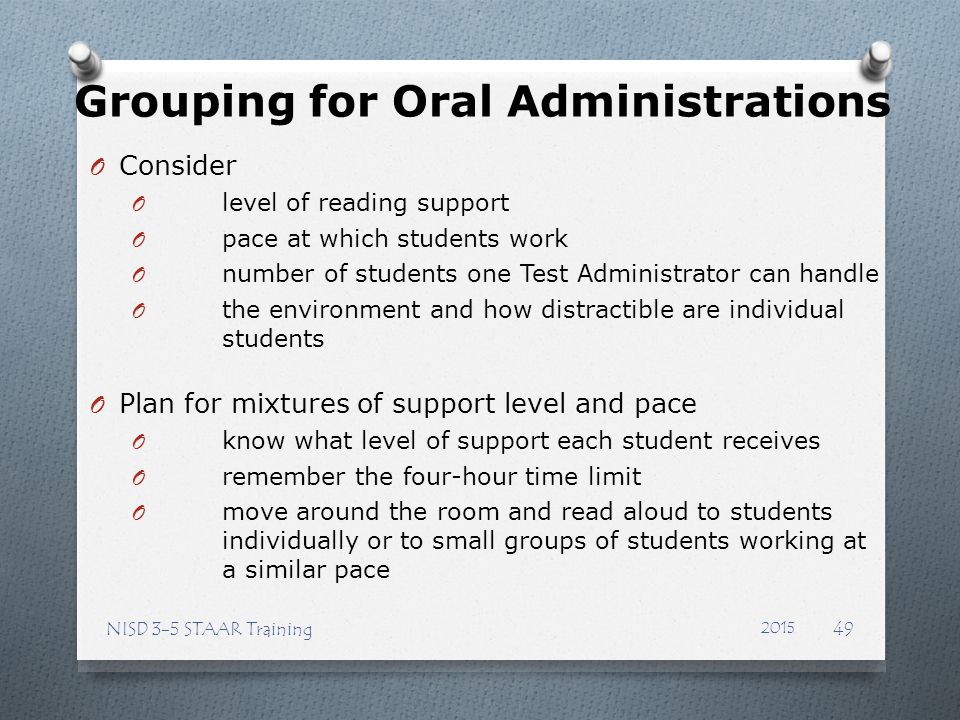 Grouping for Oral Administrations