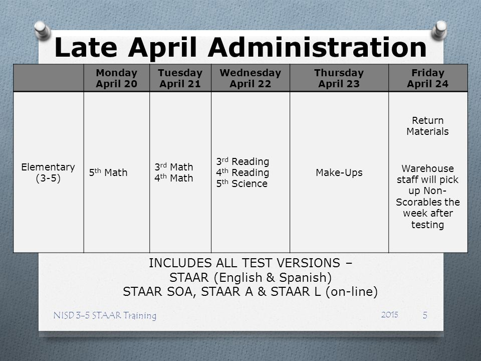 Late April Administration