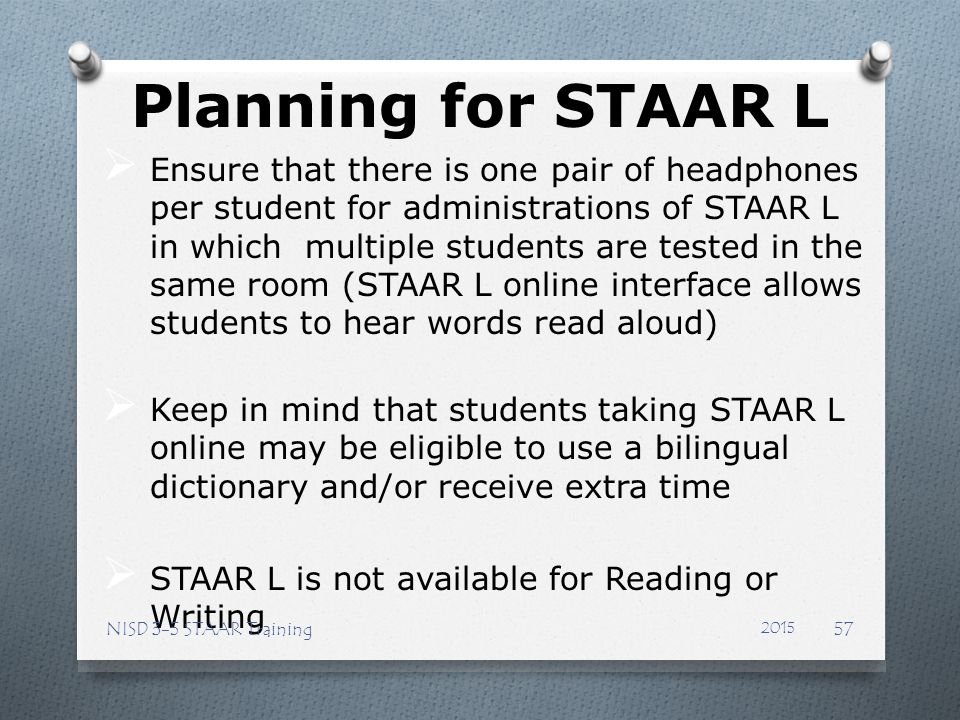 Planning for STAAR L