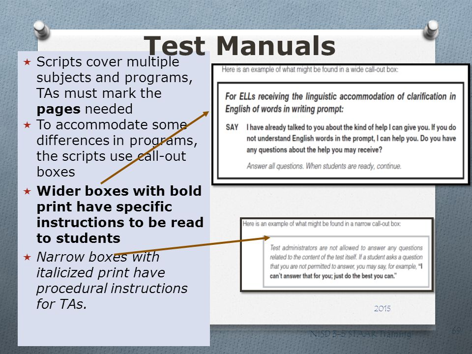Test Manuals Scripts cover multiple subjects and programs, TAs must mark the pages needed.