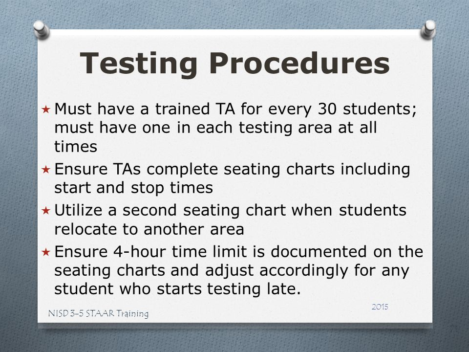 Testing Procedures Must have a trained TA for every 30 students; must have one in each testing area at all times.