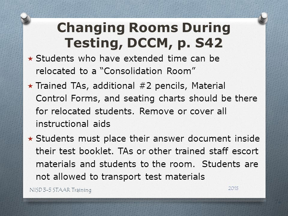 Changing Rooms During Testing, DCCM, p. S42