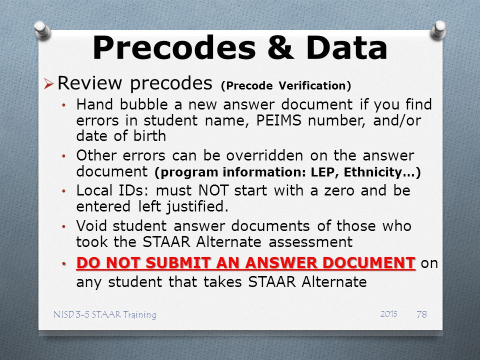 Precodes & Data Review precodes (Precode Verification)