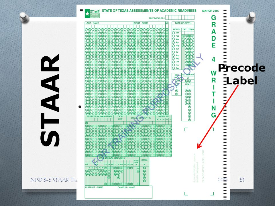 Precode Label STAAR NISD 3-5 STAAR Training 2015
