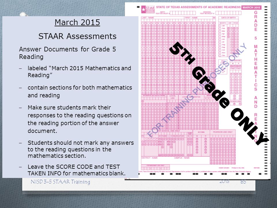 5TH Grade ONLY March 2015 STAAR Assessments