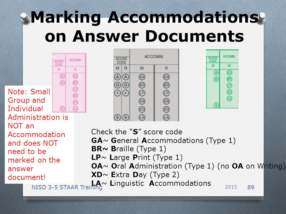 Marking Accommodations on Answer Documents