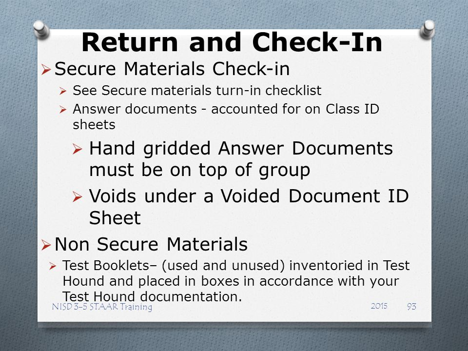 Return and Check-In Secure Materials Check-in