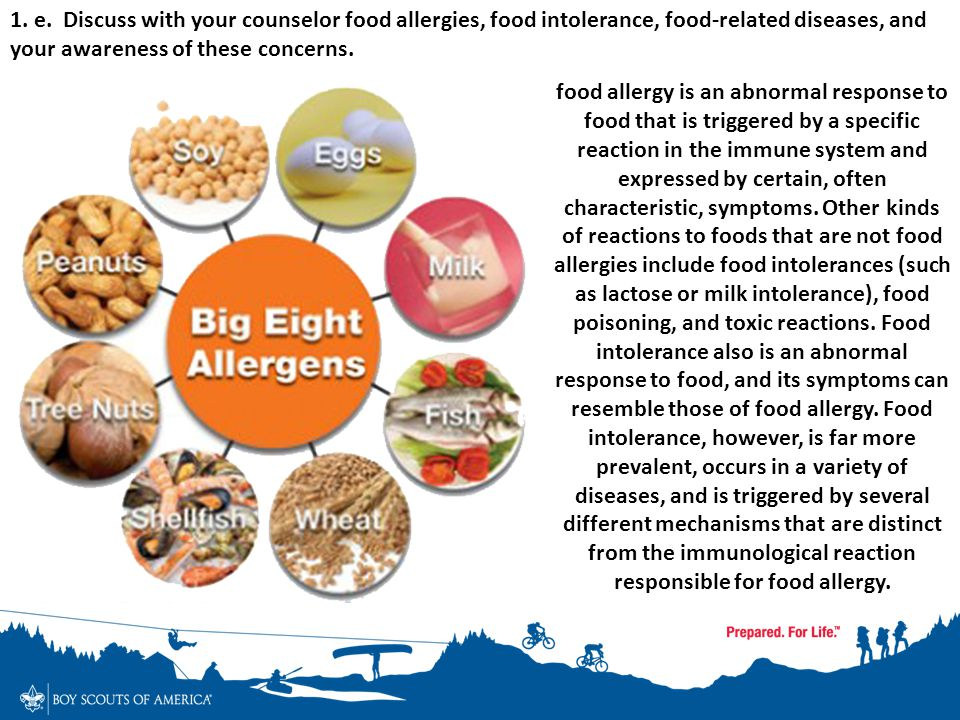 1. e. Discuss with your counselor food allergies, food intolerance, food-related diseases, and your awareness of these concerns.