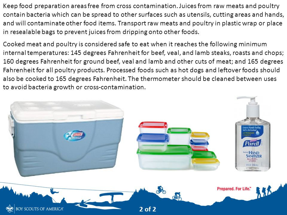 Keep food preparation areas free from cross contamination