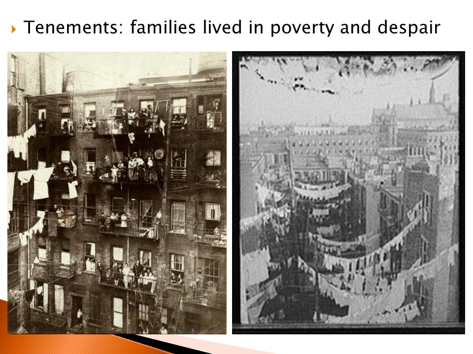 Tenements: families lived in poverty and despair