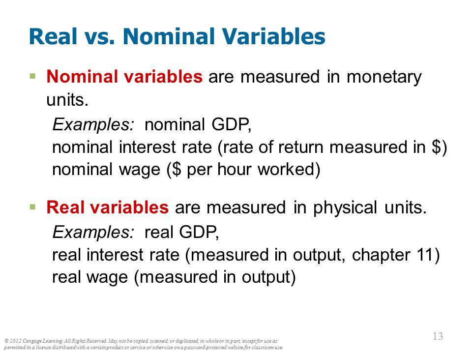 Real vs. Nominal Variables