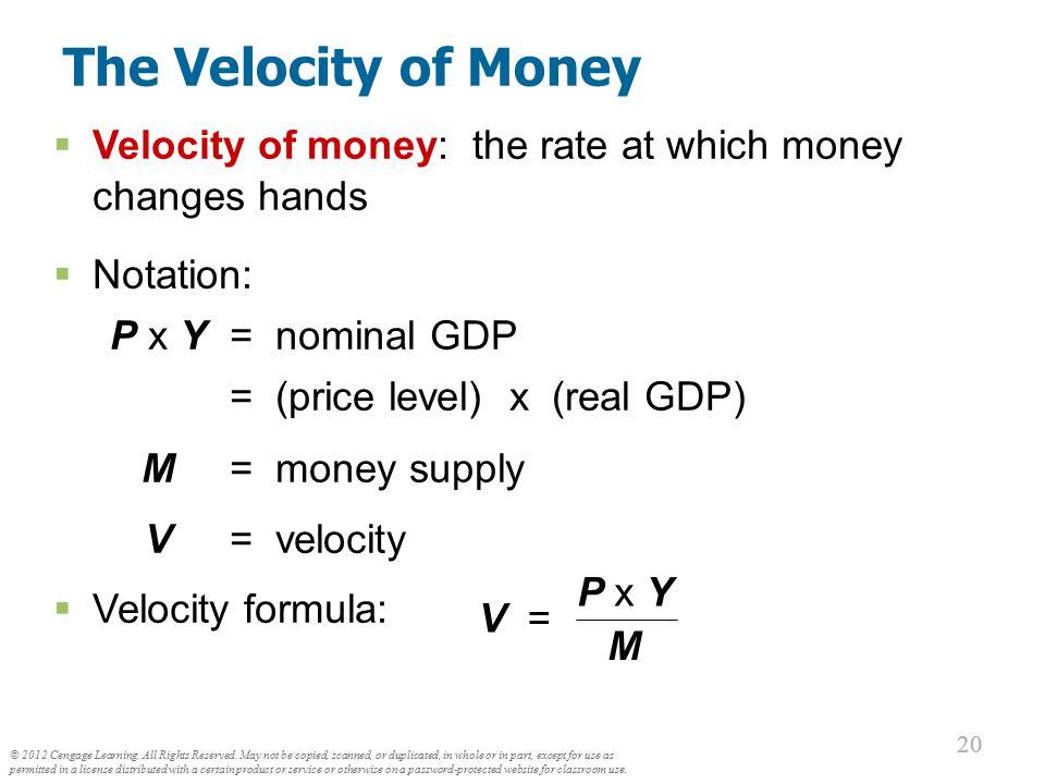 The Velocity of Money P x Y Velocity formula: V = M