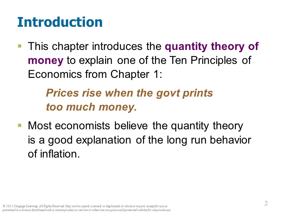 The Value of Money P = the price level (e.g., the CPI or GDP deflator)