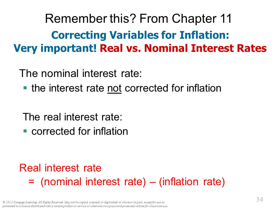 The Fisher Effect Rearrange the definition of the real interest rate: