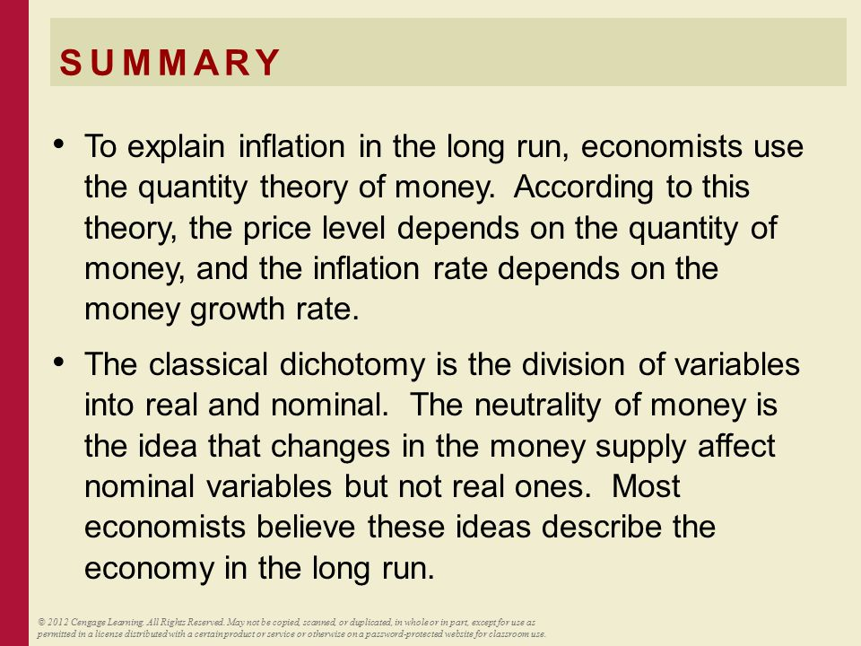 SUMMARY The inflation tax is the loss in the real value of people's money holdings when the government causes inflation by printing money.