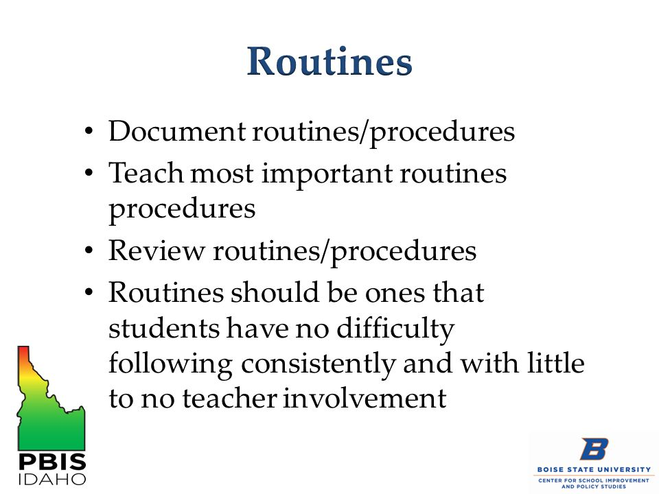 Routines Document routines/procedures