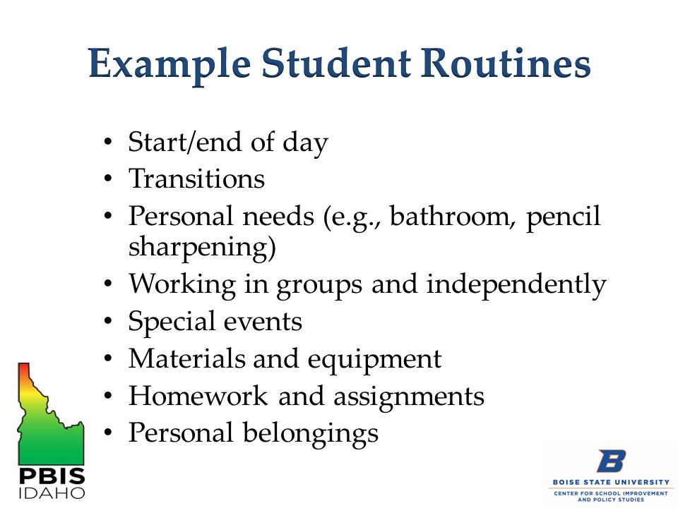 Example Student Routines
