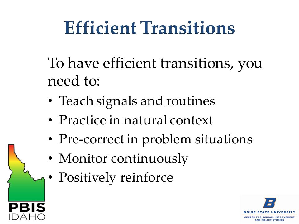 Efficient Transitions