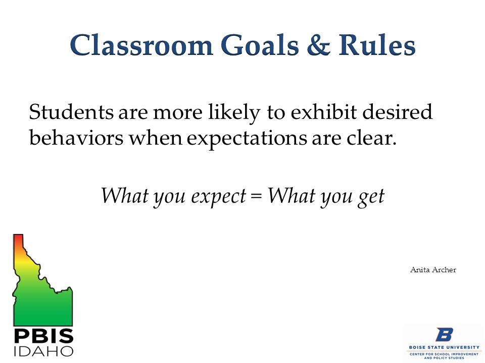 Classroom Goals & Rules