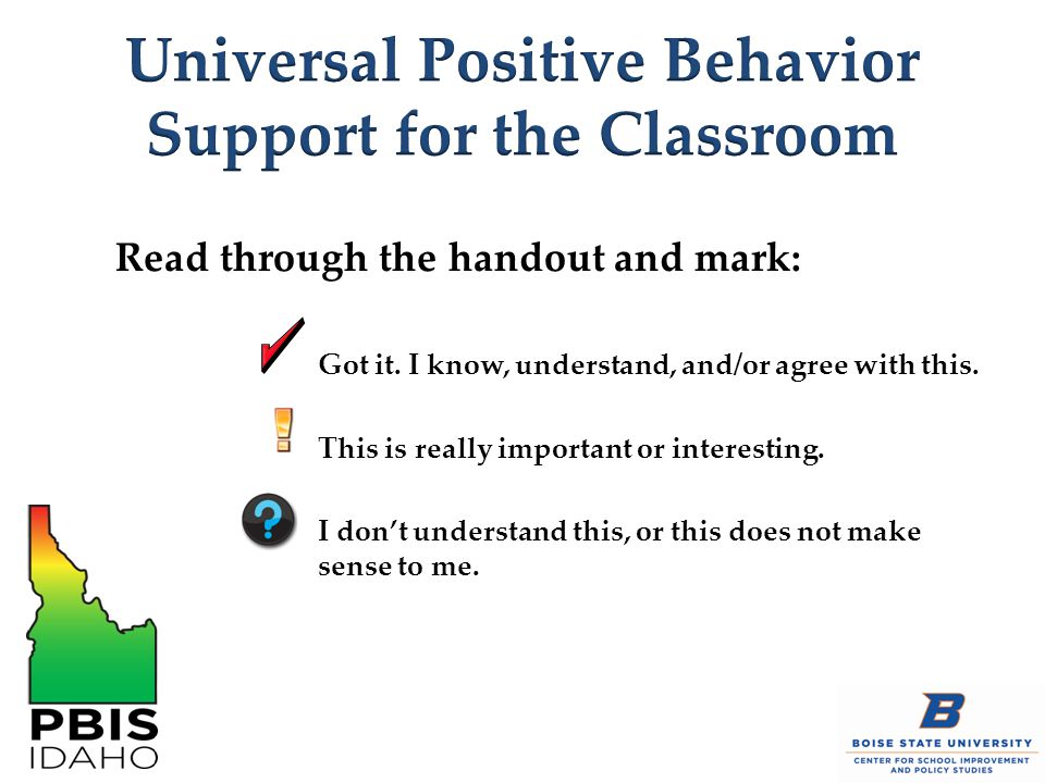 Universal Positive Behavior Support for the Classroom